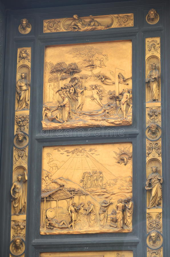 Outstanding Golden Gates of Paradise by Lorenzo Ghiberti in Baptistery of San Giovanni in Florence, Italy royalty free stock photo