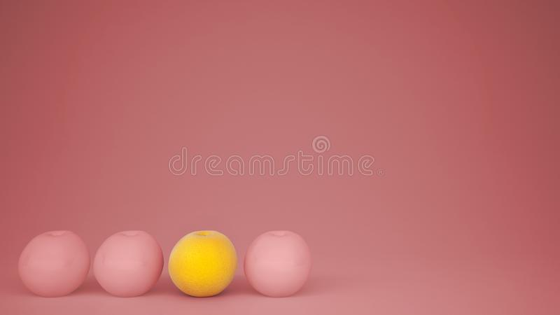 Outstanding OGM free orange contrasts with pink oranges on pastel background with copy space, natural healthy fruit concept stock photography