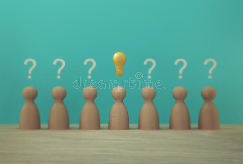 Outstanding paper people model with light bulb icon and question mark symbol. Concept creative idea and innovation. Human resource. And talent management vector illustration