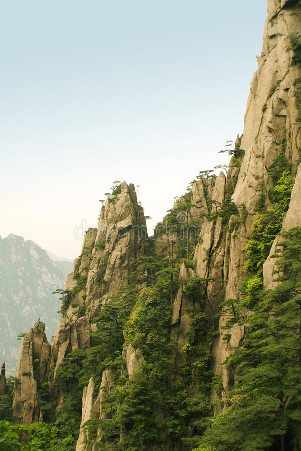 Outstanding peaks and trees in huangshan mountain stock photography