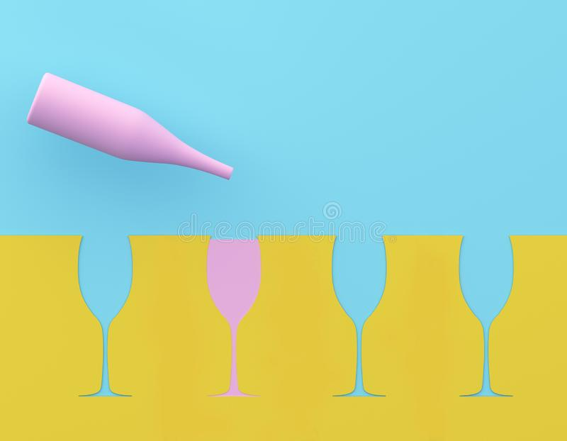 Outstanding pink champagne glass on blue and yellow pastel background. Party minimal concept. stock photos