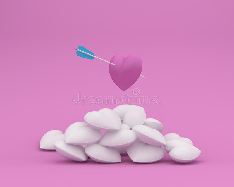 Outstanding pink heart with arrow on pink pastel background. minimal concept of love and valentine day. royalty free illustration