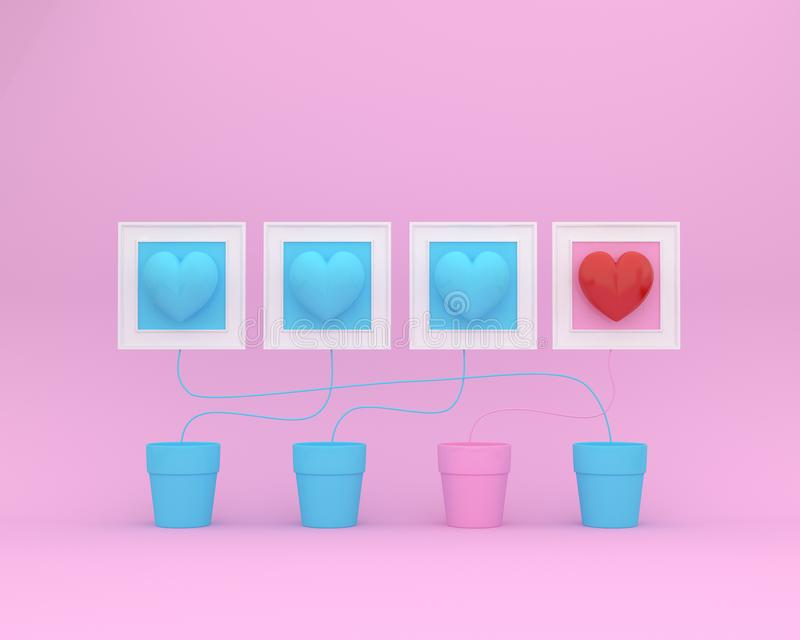 Outstanding red hearts with flowerpot and picture frame on pink background. minimal concept of love and valentine day. stock illustration