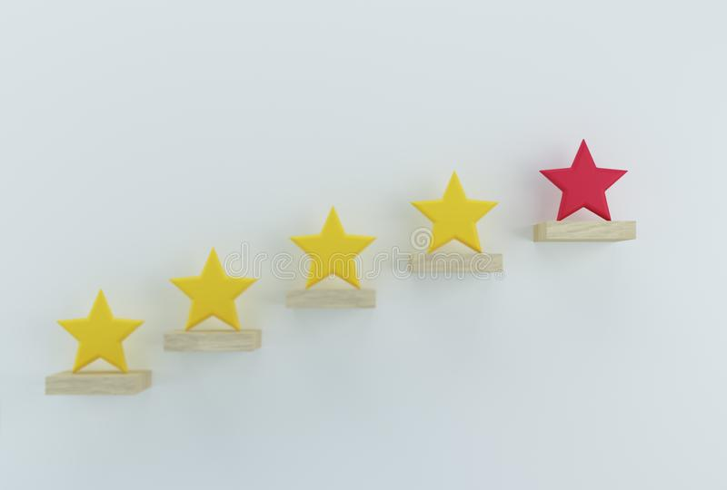 Outstanding red star shape on wooden sticks. The best excellent business services rating customer experience concept.  royalty free stock photo