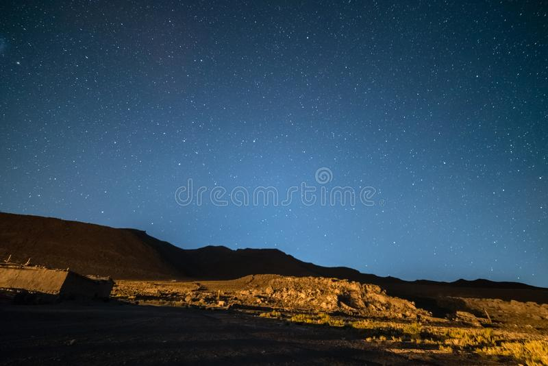 Outstanding starry sky at high altitude on the barren highlands of the Andes in Bolivia. Football ground soccer field in the mid royalty free stock photography