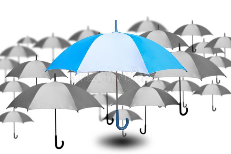 Outstanding umbrella with small umbrella in monochrome color on white background, success and single choose from many choices, royalty free illustration