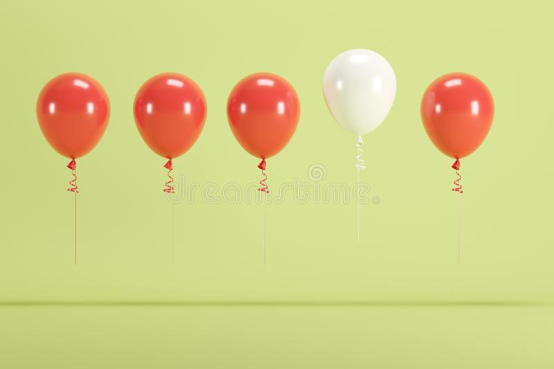Outstanding white balloon floating among red balloons on green background for copy space stock photo