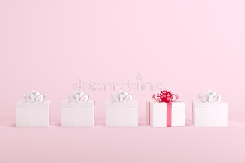Outstanding white gift box with red ribbon among white gift boxes with white ribbon on pastel pink background for copy space. Christmas minimal idea concept royalty free illustration