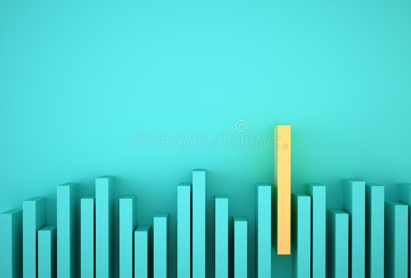 Outstanding yellow bar graph among blue bar graph on light blue background. Minimal concept idea Business and Finance.  royalty free stock photography