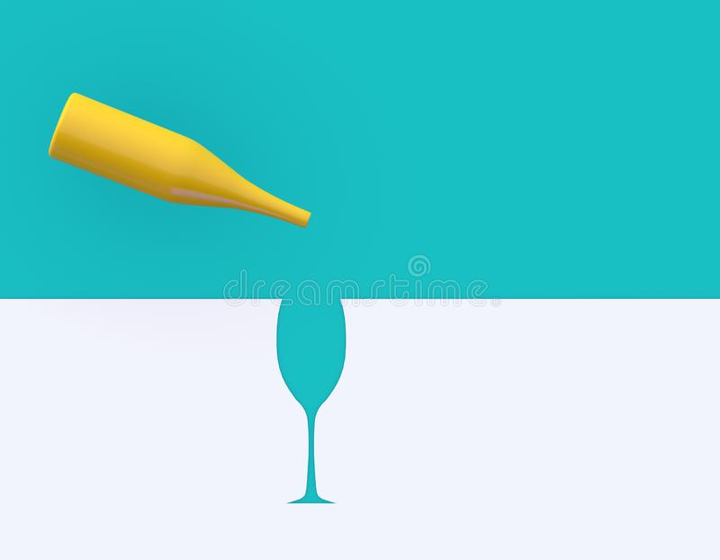 Outstanding yellow champagne glass on blue and white pastel  background. Party minimal concept. Outstanding yellow champagne glass on blue and white pastel stock photography