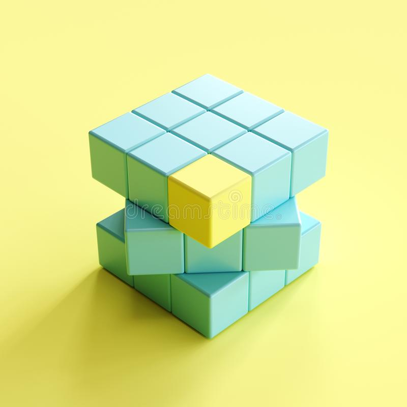 Outstanding yellow edge piece in blue rubik`s cube on light yellow background. minimal concept idea vector illustration