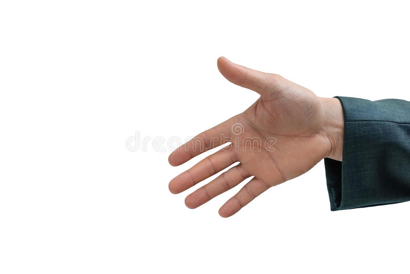 Outstretched hand. Man in a suit with an outstretched hand royalty free stock photo