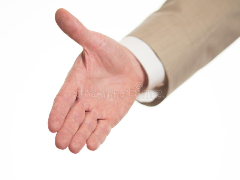 Outstretched hand to welcome stock photography