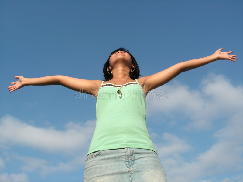 Outstretched lady freedom rejoice stock images