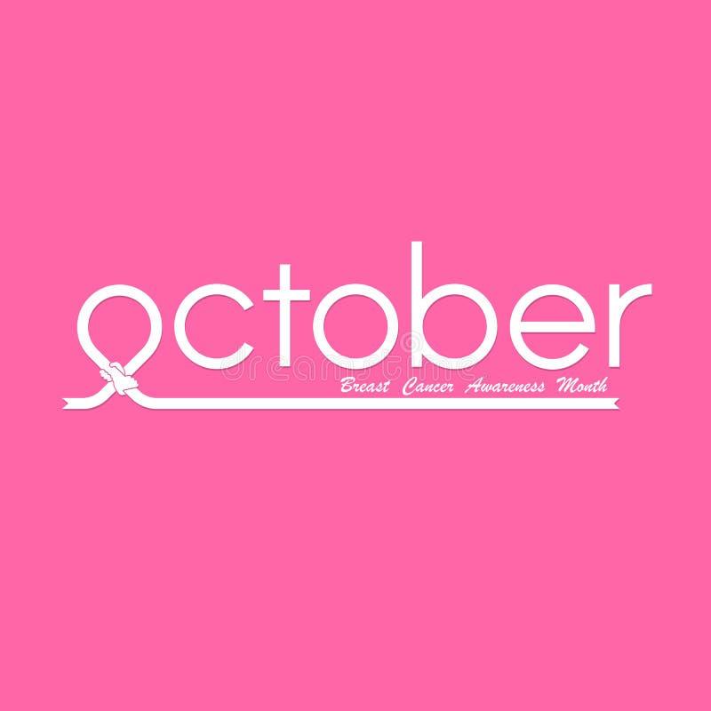 outubro tipográfico & da fita da mão ícone cor-de-rosa Câncer da mama Octo ilustração stock