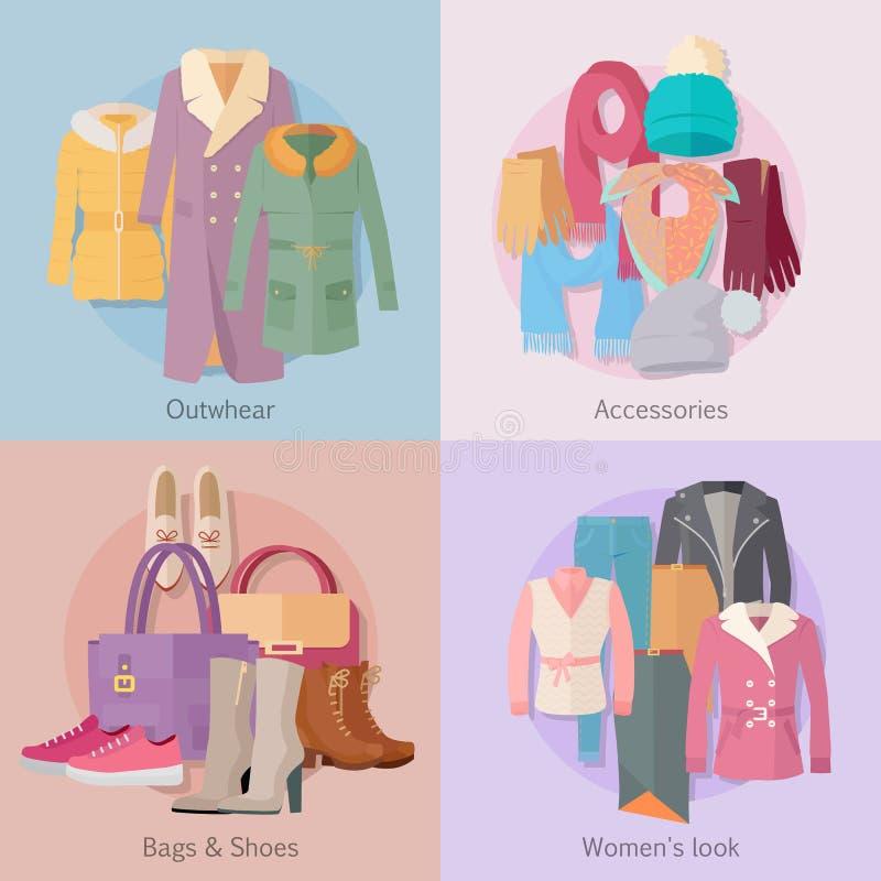 Outwear la bannière du regard des femmes de chaussures de sacs d'Accesoiries illustration stock