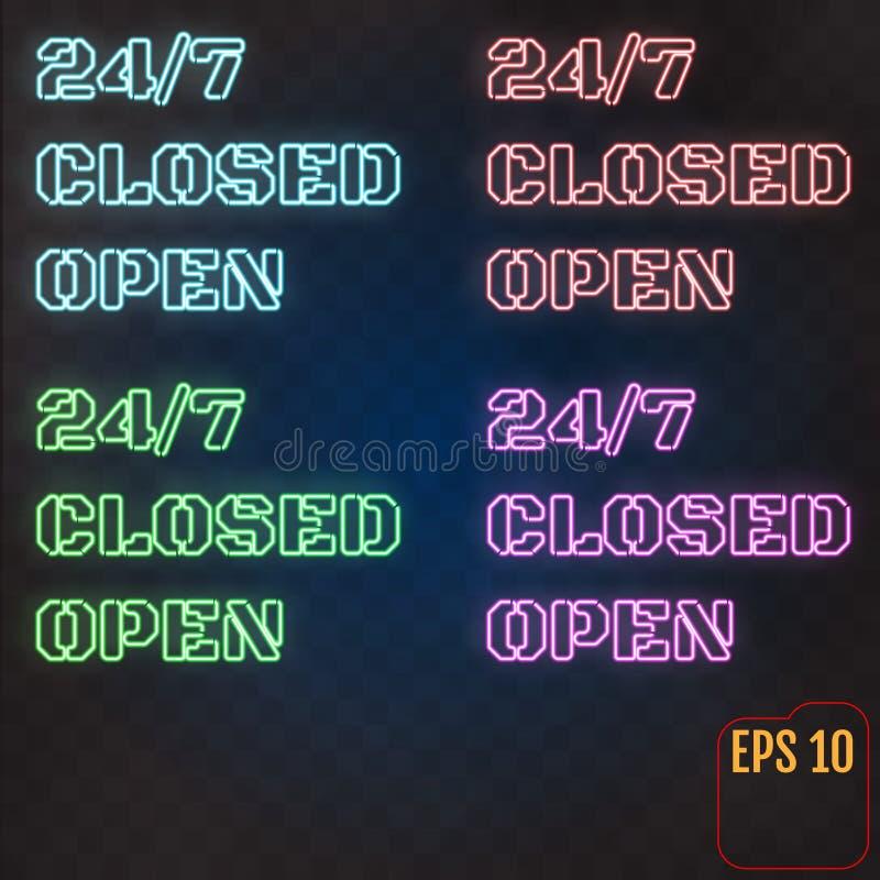 Ouvert, fermé, 24/7 heure de lampe au néon sur le mur de briques 24 heures de proche illustration de vecteur