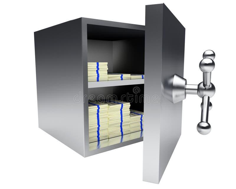 Ouvert sauf la chambre forte complètement de l'argent d'isolement sur le blanc illustration stock