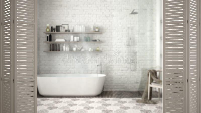 Ouverture blanche de porte de pliage sur la salle de bains classique moderne avec la baignoire, conception intérieure blanche, co photographie stock