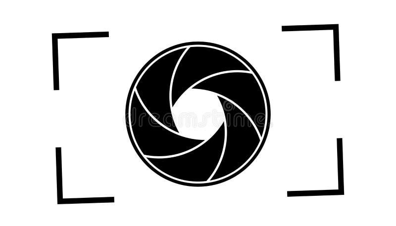 Ouverture d'obturateur de caméra - illustration noire et blanche de vecteur - d'isolement sur le fond blanc illustration stock