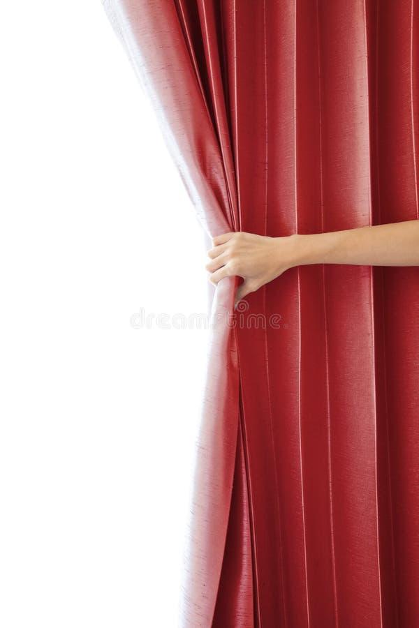 Ouverture du rideau et de la main image libre de droits