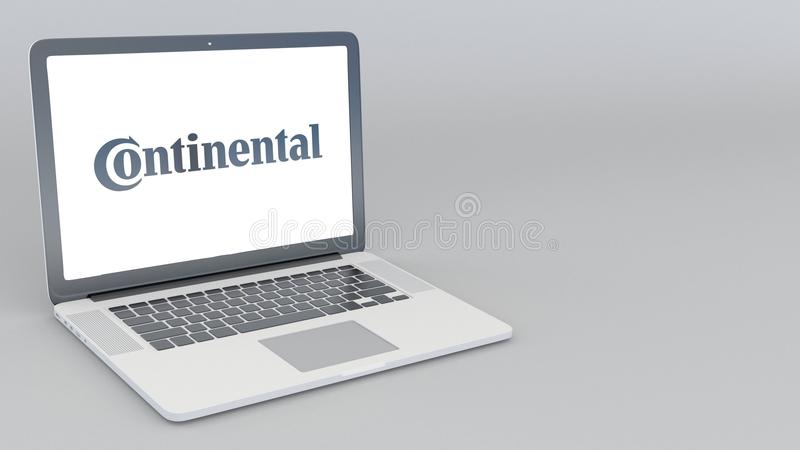 Ouverture et ordinateur portable fermant avec le logo continental rendu 4K 3D éditorial illustration stock