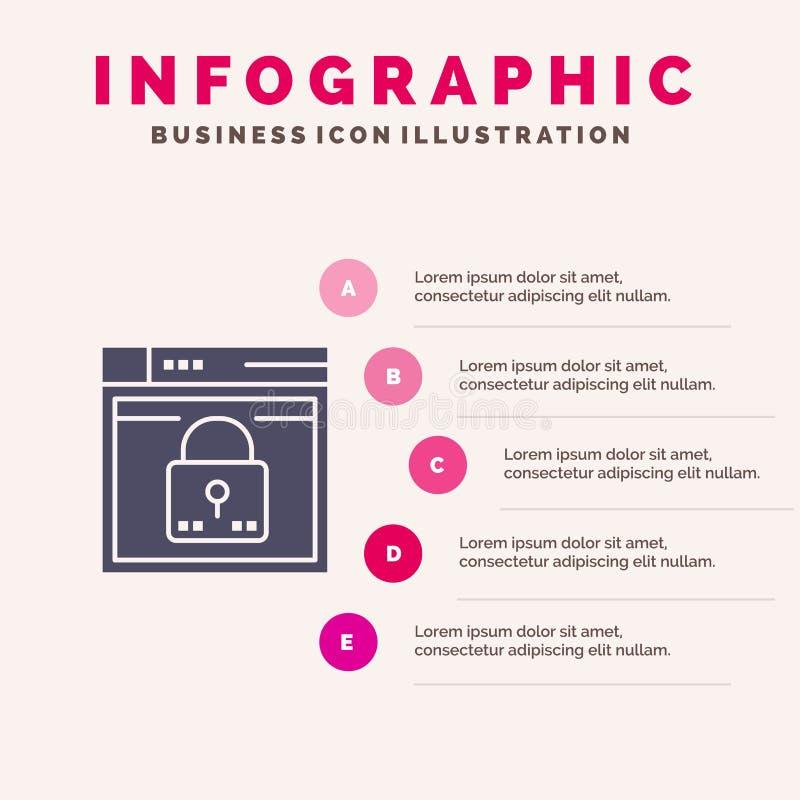 Ouverture, sûre, Web, disposition, mot de passe, fond solide de présentation d'étapes d'Infographics 5 d'icône de serrure illustration libre de droits
