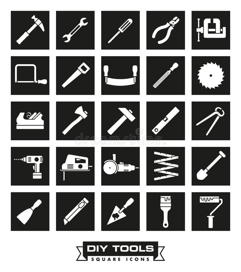 Ouvrage de l'ensemble noir carré d'icône d'outils illustration libre de droits
