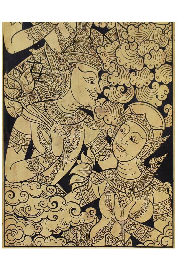 Ouvrage en bois d'or de la peinture traditionnelle d'art antique de l'homme et de la femme avec le costume, le mâle thaïlandais d illustration libre de droits