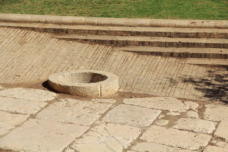 Ouvrez bien juste les vieux murs de ville de Jérusalem d'extérieur photographie stock libre de droits