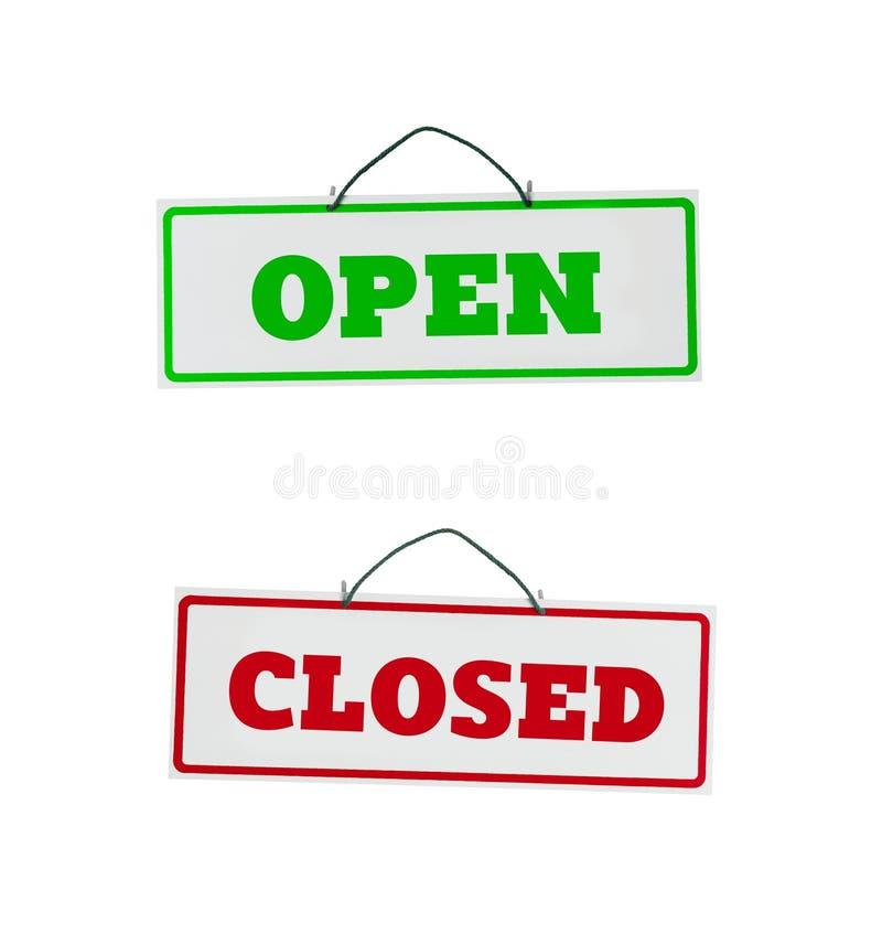 Ouvrez et fermez les signes de porte images libres de droits