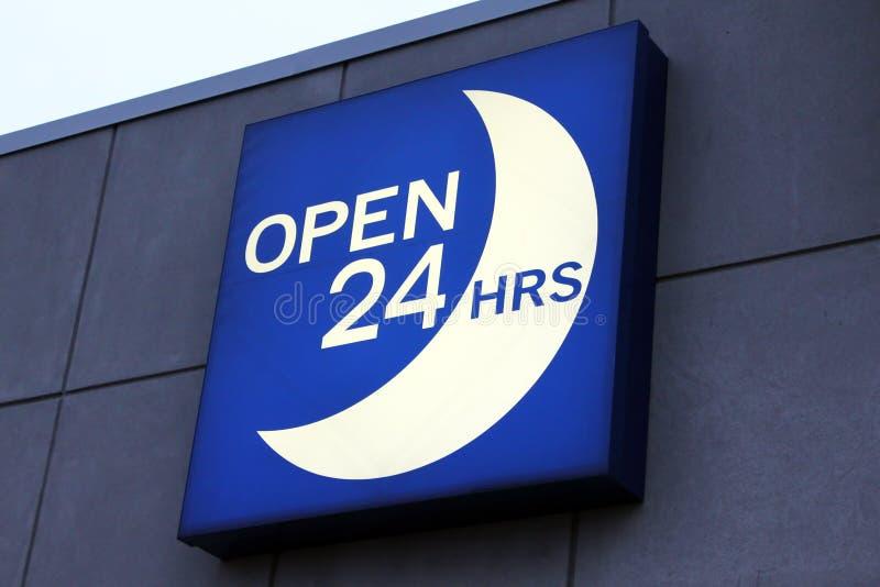 Ouvrez 24 heures de signe photo libre de droits