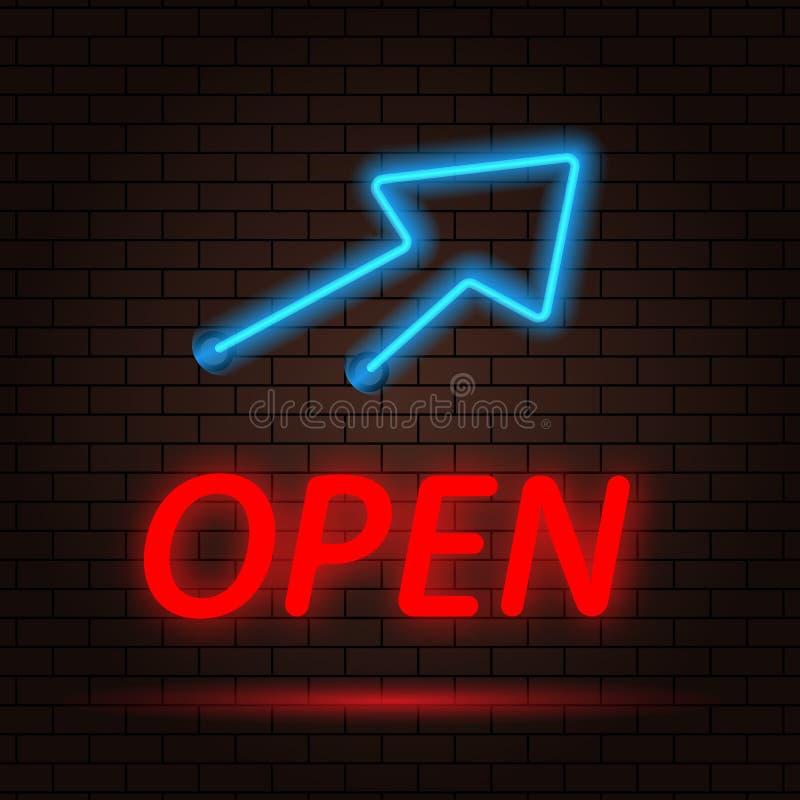 Ouvrez l'enseigne au néon et la flèche sur le fond de mur de briques illustration de vecteur