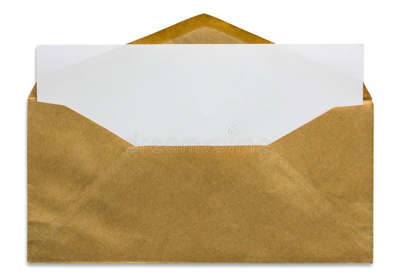Ouvrez l'enveloppe brune avec la lettre vide images libres de droits
