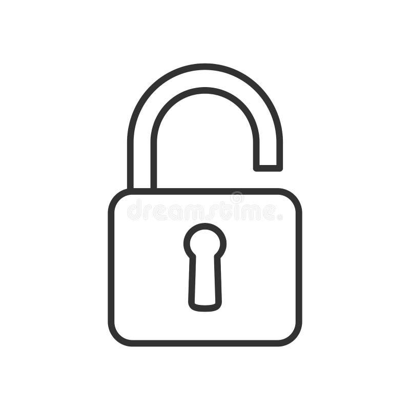 Ouvrez l'icône plate d'ensemble de cadenas sur le blanc illustration libre de droits