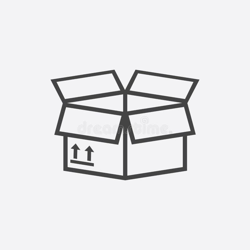Ouvrez l'icône de boîte Illustration plate de expédition de vecteur de paquet sur b blanc illustration stock