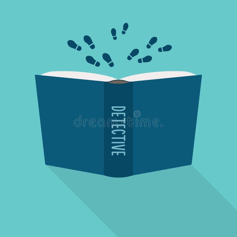Ouvrez l'icône de livre Concept de détective, genre littéraire de fiction illustration libre de droits