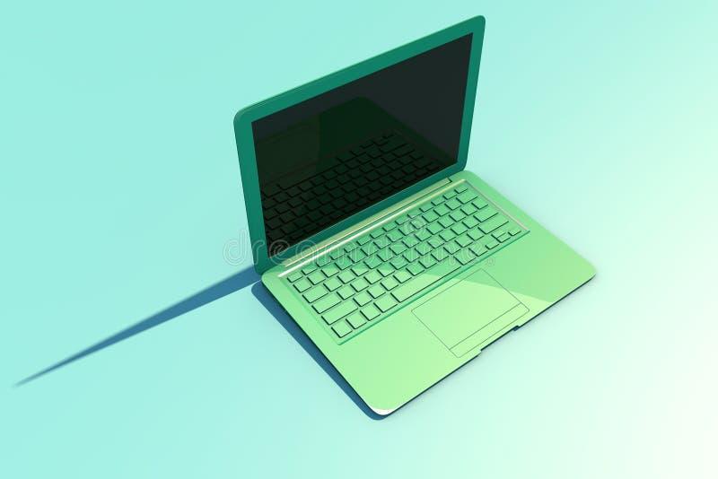 Ouvrez l'ordinateur portable avec l'écran et le clavier, longue ombre illustration stock