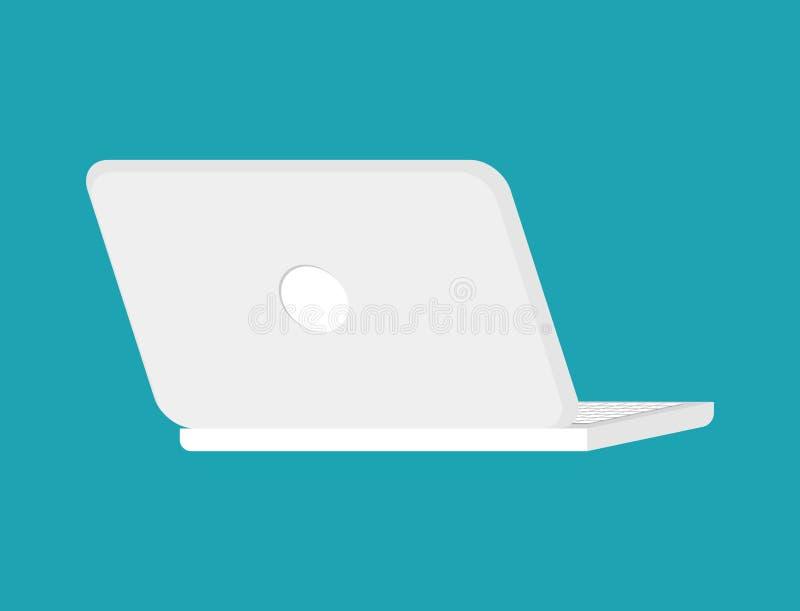 Ouvrez l'ordinateur portable blanc de retour d'isolement PC de carnet Ordinateur portable illustration stock