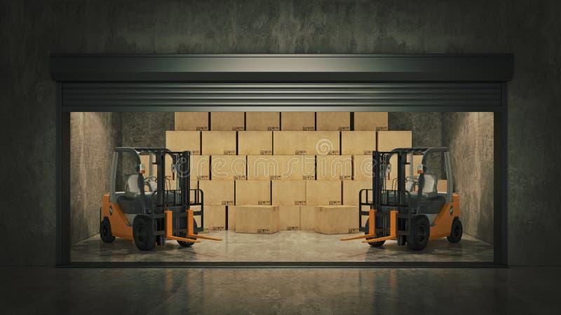 Ouvrez l'unité de stockage d'individu complètement des boîtes en carton rendu 3d illustration libre de droits