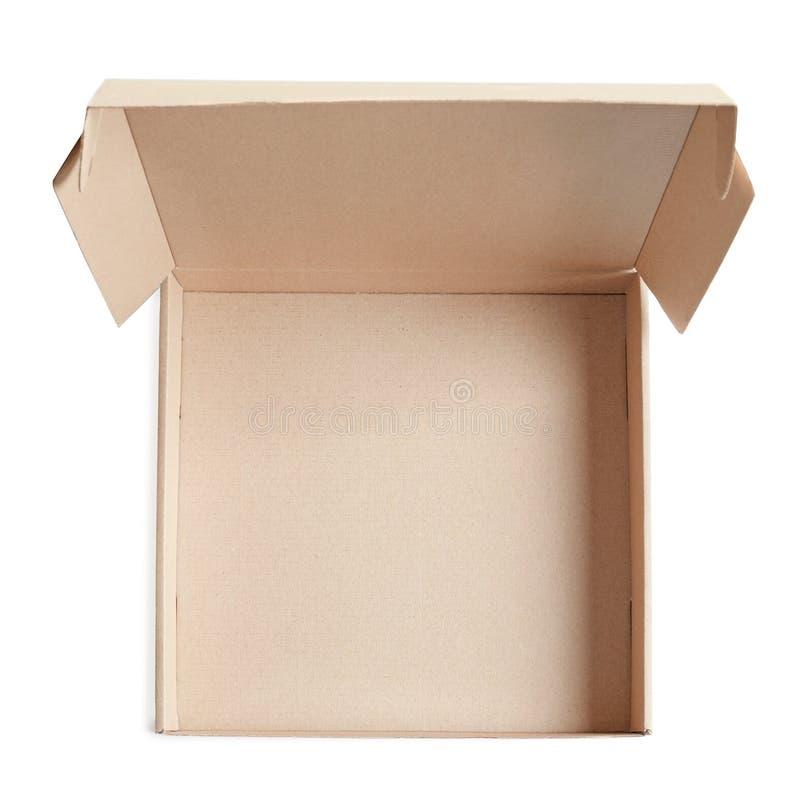 Ouvrez la boîte à pizza de carton images stock