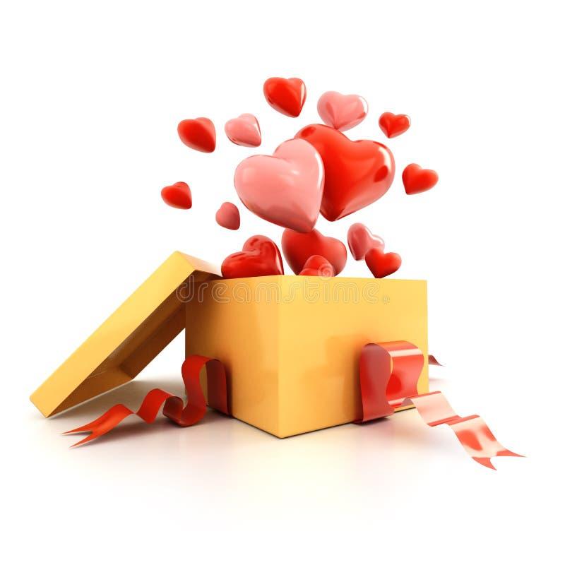 Ouvrez la boîte-cadeau avec des coeurs de vol photos libres de droits