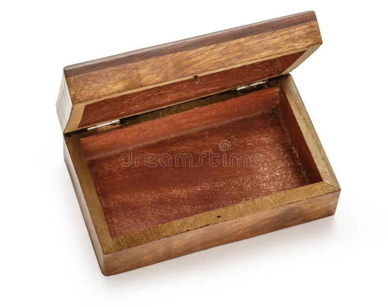 Ouvrez la boîte carrée en bois vide image libre de droits