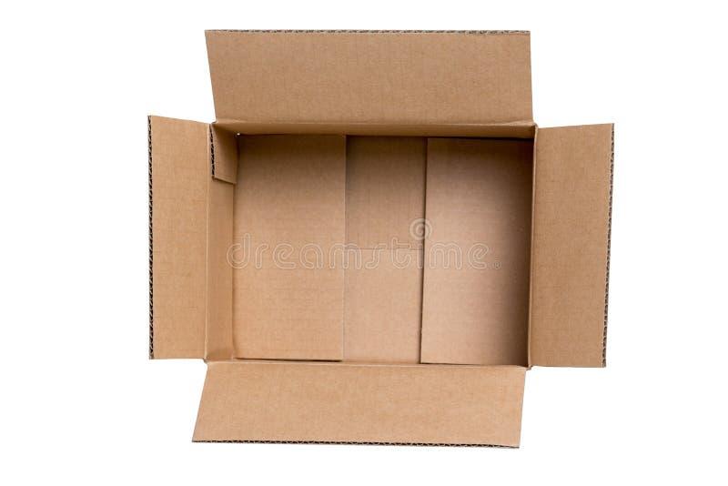 Ouvrez la boîte en carton sur le fond blanc photo libre de droits