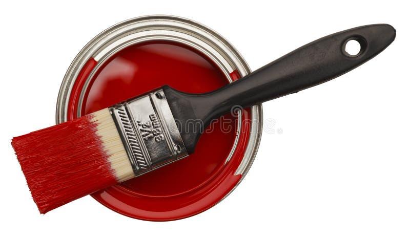 Ouvrez la boîte rouge de peinture images libres de droits