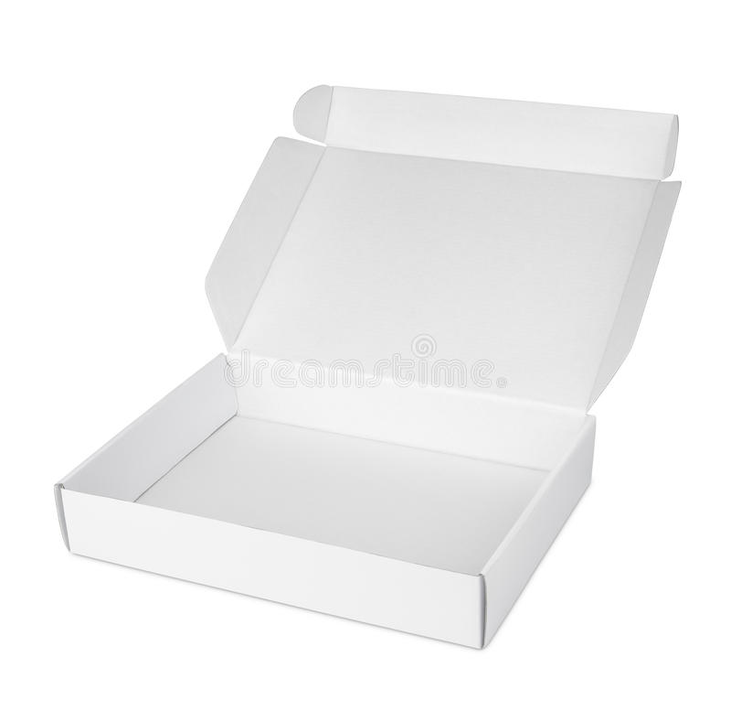 Ouvrez la boîte vide blanche à pizza de carton illustration stock