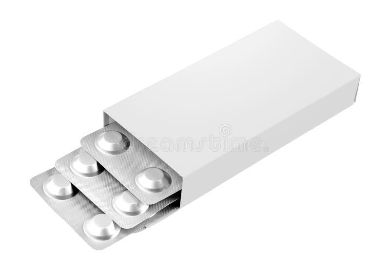 Ouvrez la boîte vide de drogue de médecine d'isolement image stock