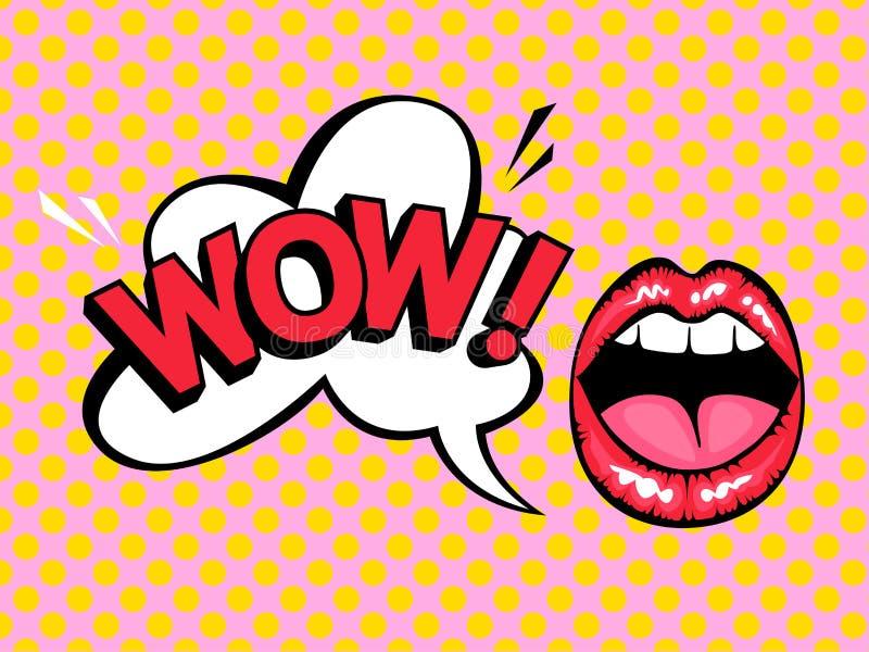 Ouvrez la bouche avec la bulle de la parole indiquant wouah illustration de vecteur