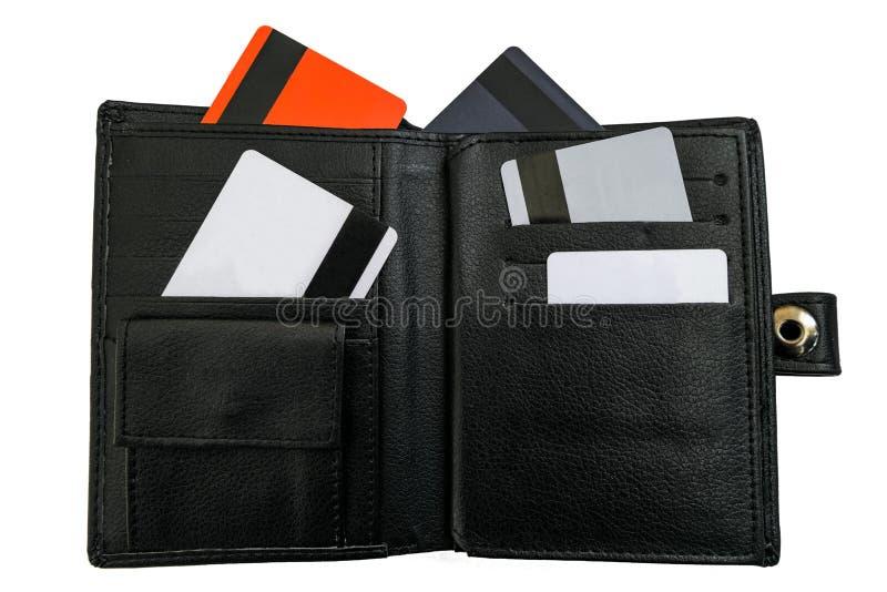 Ouvrez la bourse noire avec des cartes de banque de crédit et de debet photos stock