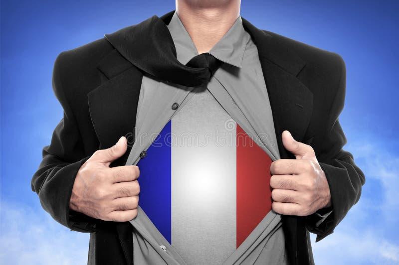 Ouvrez la chemise avec le drapeau français image stock